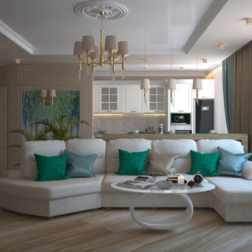 Классическая гостиная в частном доме в светлых тонах.