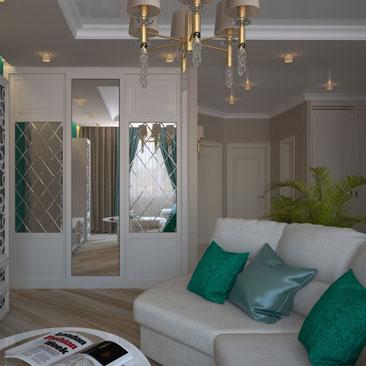 Зона гостиной в коттедже - уютный дизайн, классический интерьер.