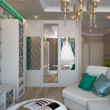 Интерьер гостиной в коттедже - диванная зона.