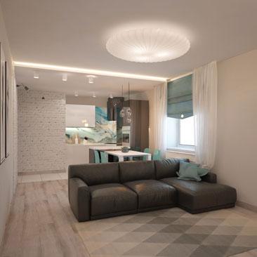 Белые, голубые и черные тона в квартире. Дизайн кухни-гостиной.