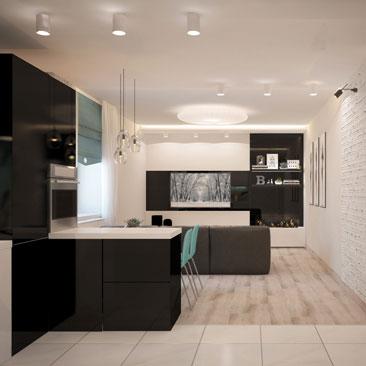 Черный и белый тон в оформлении интерьера квартиры. Фото.
