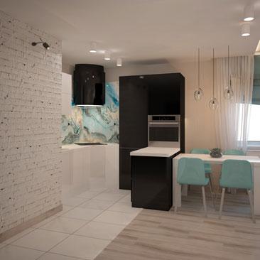 Светлые, нежные тона. Дизайн кухни-гостиной.