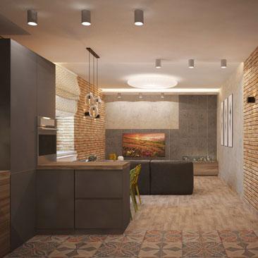 Кухня-гостиная, стиль Лофт.