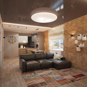 Чёрный кожаный диван, интерьер гостиной.