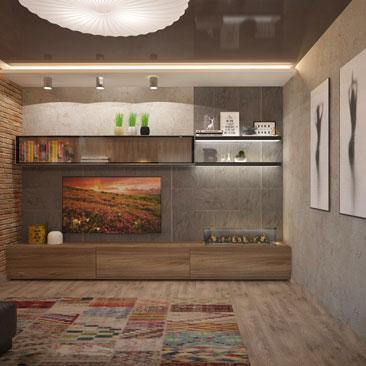 Коричневый натяжной потолок, интерьер гостиной.