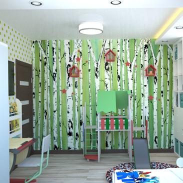 Детская комната с фотообоями, дизайн, фото.
