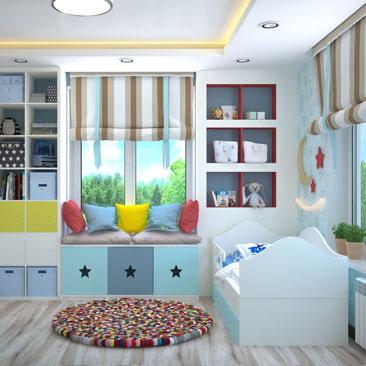 Голубая детская комната - фото лучших идей дизайна.