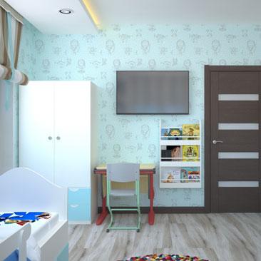 Голубая детская: дизайн, интерьер, фото.