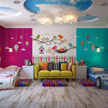 Варианты зонирования детской комнаты для девочки и мальчика.