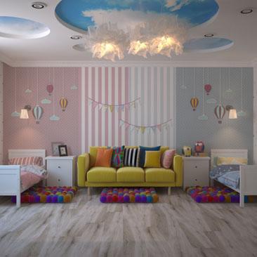 Фото детских комнат для разнополых детей.