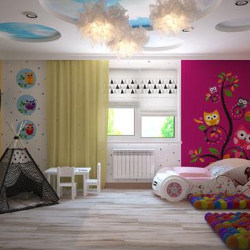 Детская комната для мальчика и девочки - яркий дизайн-проект.