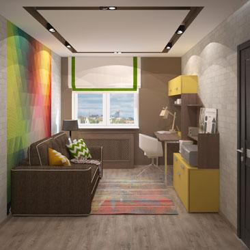 Дизайн комнаты для подростка-мальчика. Лофт. Интерьер. Дизайн.