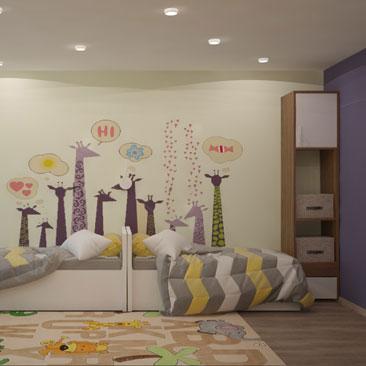 Дизайн детской для двух детей примерно одного возраста.