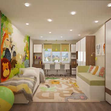Детская комната для двоих детей.