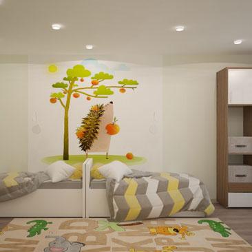 Интерьер детской комнаты для двух разнополых детей.