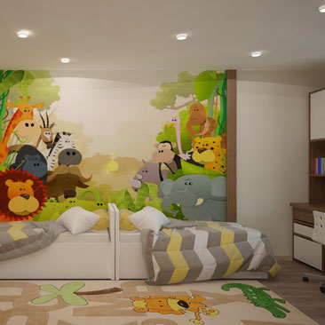 Комната для 2 детей. Интерьер. Дизайн-проект детской с фотоообоями.
