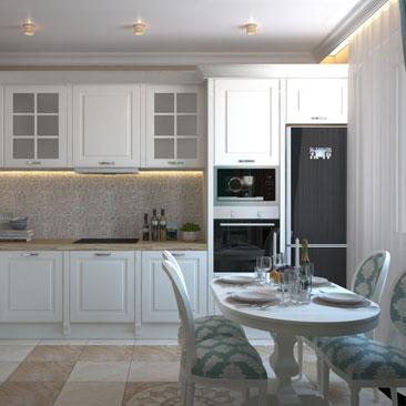Дизайн кухни в качестве столовой-гостиной в частном коттедже.