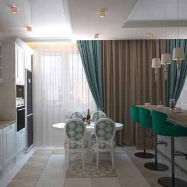 Дизайн кухни-столовой-гостиной в частном доме.