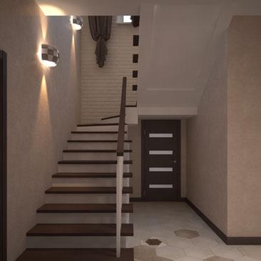 Интерьер коридора с лестницей на второй этаж, фото.