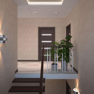 Дизайн интерьера лестничного холла в загородном доме.