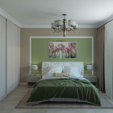 Фисташковая спальня. Дизайн-проект.