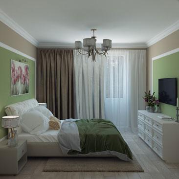 Спальня: фисташковый цвет в интерьере на фото.