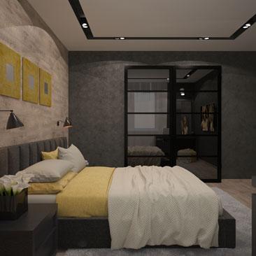 Стиль лофт в интерьере современной спальни - фото.