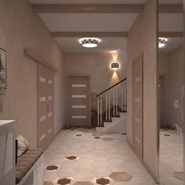 Дизайн прихожей с лестницей.