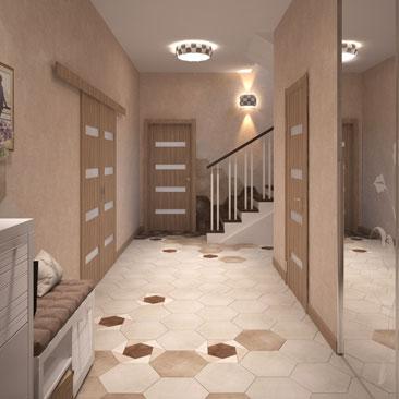 Дизайн прихожей с лестницей в частном коттедже.