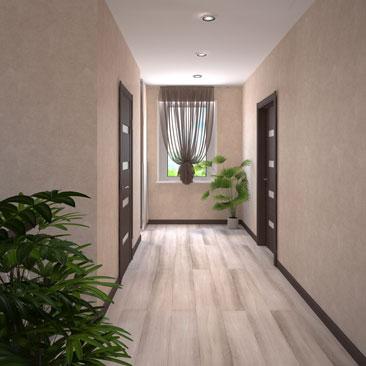 Фото красивого интерьера холла на 2-м этаже (3д проект).