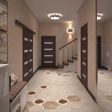 Прихожая с лестницей фото на второй этаж.