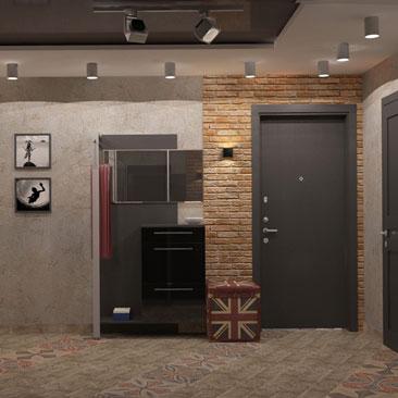 Интерьеры коридоров, холлов в стиле Лофт — проекты с 3д визуализацией.