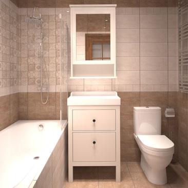 Плитка «пэчворк» в интерьере ванной комнаты.