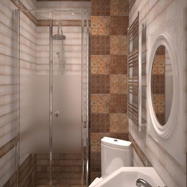 Плитка в стиле пэчворк: дизайн туалета.