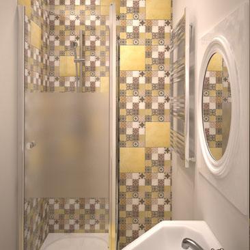 """Туалет с душевым местом в стиле """"Пэчворк""""."""