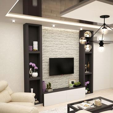 Дизайн проект гостиной, совмещённой с кухней.