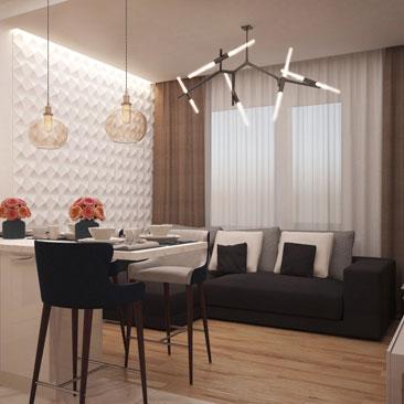 Проект гостиной с гипсовыми 3д панелями.