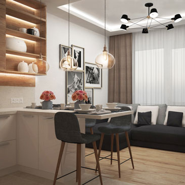 Современная кухня-гостиная в квартире.