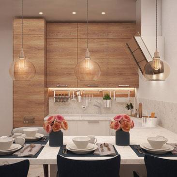 Кухня-гостиная в квартире в стиле хай-тек.