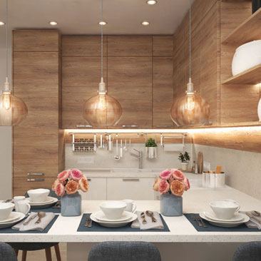 Кухня-гостиная в квартире в современном стиле.