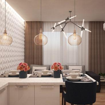 Интерьер кухни-гостиной в квартире.