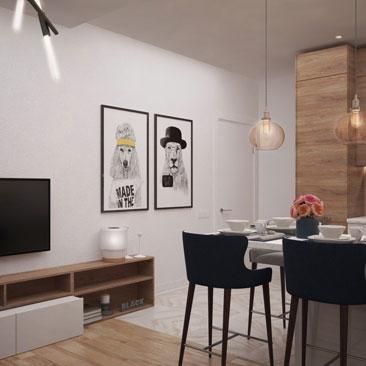 Интерьер кухни совмещенной с гостиной в квартире.
