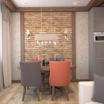 Интерьер совмещенной гостиной и кухни в коттедже 53