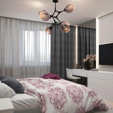 Дизайн-оформление спальни в серых тонах.