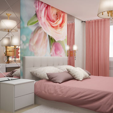 Спальня, обои с розами в спальне.