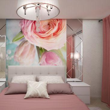 Фотообои с розами в интерьере спальни.