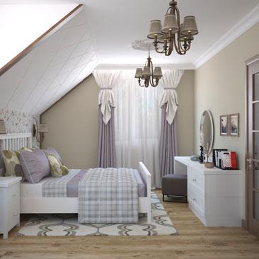 Дизайн. Спальня. Коттедж.