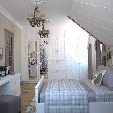 Дизайн мансардной спальни.