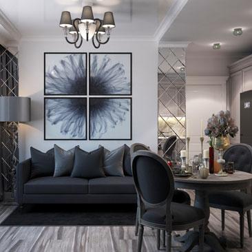 Интерьер черно-белой гостиной, фото-идеи