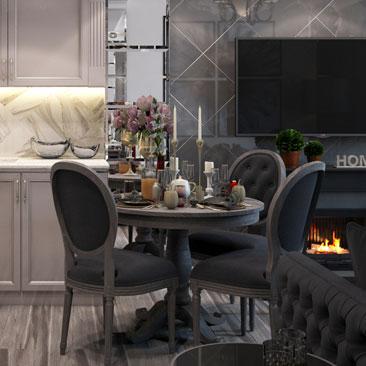 Интерьер гостиной-столовой в серых и чёрных оттенках.